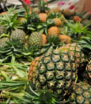 Pineapples in a Tanzania market place